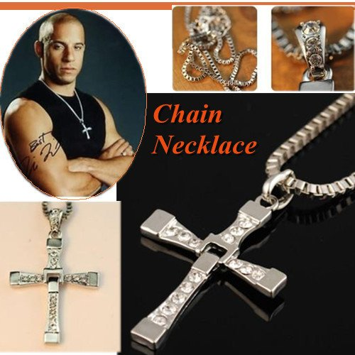 Fast And Furious *Hot Sell 2013* Silver Plated Necklace Crystal Cross Pendant - The Dominic Toretto Movie - Length 60cms - Free UK Delivery + Gift Packaging Included!