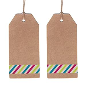 Dress My Cupcake Cardstock 50-Pack Gift Hang Tag with String DIY Kit, Classic Kraft, Festive Birthday Stripes
