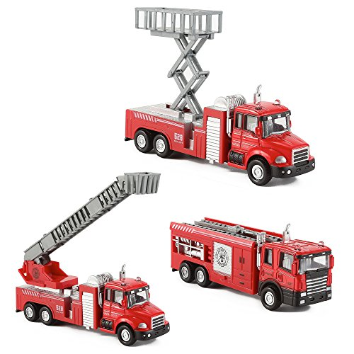 Diecast Fire Truck Engine Pullback Friction Toy 1:32 Scale Emergency Vehicles (Set of 3)