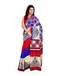 Anu Designer Self Print Saree (6412B_Multi-Coloured)