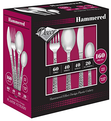 Decor Hammered Effect Design Plastic Silverware, 160 Pieces (Kitchen Silverware compare prices)