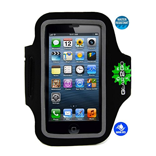 ATHLETES CHOICE iPhone 5 5S 5C Sports Armband by Gear2Go. Running Sports & Exercise Gym Sport-band. NEW MODEL also fits iPod Touch & iPhone 4 4S. WATER Resistant, Sweat PROOF, NO Slip, holds Cash & Ke
