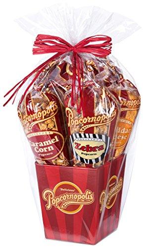 Popcornopolis Gourmet Popcorn 5 cone Gift Basket - Premium (Corn Cones compare prices)