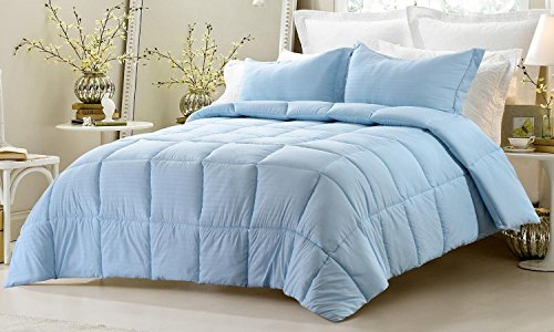 3pc Reversible Solid/ Emboss Striped Comforter Set- Oversized and Overfilled - 2 bedding looks in 1 - Twin-Light Blue (Twin Light Blue Bedding compare prices)