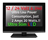 16&quot; Ultra Slim LED Digital Freeview USB Record TV DVD. Caravan HGV Boat. 12 / 24 VOLT DC 12V + 240