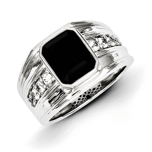 Sterling Silver White Sapphire and Onyx Square Mens Ring - Ring Size Options Range: R to V