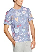 Mr. Gugu & Miss Go Camiseta Manga Corta Unisex Romantic Cats (Lila / Multicolor)