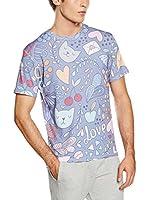 Mr. Gugu & Miss Go Camiseta Manga Corta Unisex Romantic Cats (Lila / Multicolor)