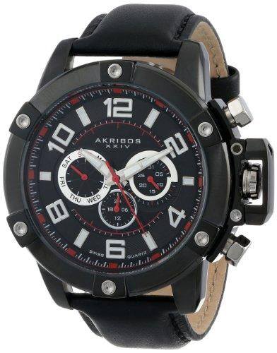 Akribos XXIV Men's AK605BK Conqueror Multi-Function Stainless Steel Swiss Quartz Leather Strap Watch