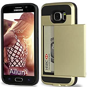 Galaxy S6 Case,by Ailun,Protective Shell-Smooth Card Slider Wallet&Flexible Shockproof Rubber Bumper&Anti-scratch PC Back Cover,Wallet Case.Siania Retail Package[Gold]