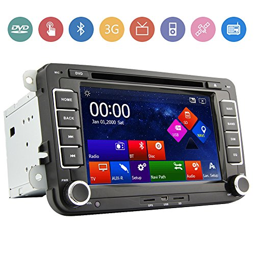"""Free Rearview Camera+7"""" 2 Din Touch Screen Car DVD Player for VW Volkswagen Jetta Golf 5 6 Skoda Passat Caddy T5 Seat with Can-bus,Bluetooth,GPS,iPod-Input,RDS,Radio,ATV+Free Kudos Map Card"""