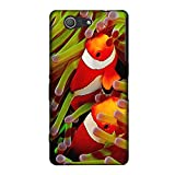 Diving World 017 Clown Fish Ultrathin Crystal Soft TPU Soft Gel Silicone Case Cover Skin Shell Protector with Colourful Design for Sony Xperia Z3 Compact Mini
