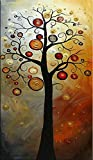 Wieco Art - Tree of Life Modern Abstract Artwork 100% Hand-painted Floral Oil Paintings on Stretched and Framed Canvas Wall Art for Home Decor 20x40inch