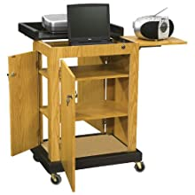 "Oklahoma Sound SCL-MO Smart Cart Lectern, 28"" Width x 41"" Height x 21"" Depth, Medium Oak"