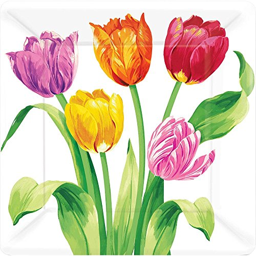 "Amscam 8 Count Bright Tulips Square Plate, 10"", Multicolor - 1"