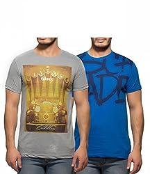 Yo Republic Mens Cotton Tshirt Combo Offer (Pack of 2)(AT-0053-1M_Grey_Blue_Medium)
