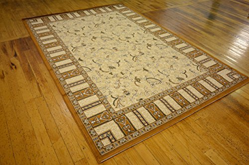 Country Traditional 7-Feet by 10-Feet (7' x 10') Versailles Beige Area Rug