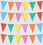 33 Feet Long Multi Coloured PVC Plastic Bunting Banner 20 Flags Pennant Double Sided Indoor & Outdoor Party Decoration
