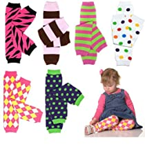 6 Pack Baby Girls juDanzy leg warmers Pack of polka dots, girl owl, pirate princess, and flower