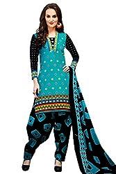 Rajlaxmi Woman's Cotton Unstiched Dress Material Multi Coloured Sky Blue & Black
