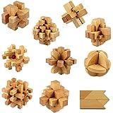 Tera kit de 10 pièces Casse-tête Kong Ming Suo/ Puzzle en bois/Jouet d'intelligence/ Jeux de réflexion/ jeux de construction/assemblage pour Adultes et enfants
