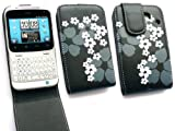 FLASH SUPERSTORE HTC CHACHA PREMIUM FLORAL BLACK FLIP CASE/COVER/POUCH AND LCD SCREEN PROTECTOR