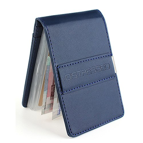 DistressedPorta-carte di credito con fermasoldi in acciaio inox, 10scomparti trasparenti Blu Blu 11cm x 7cm