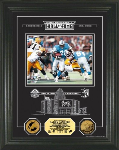 Barry Sanders Framed Detroit Lions Hof Archival Etched Glass 24Kt Gold Coin Photo Mint