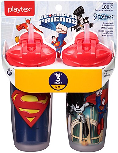 Playtex Sipsters Stage 3 Super Friends Infant Cups , Assorted (Color/Theme May Vary) (Straw Insulation Cup compare prices)