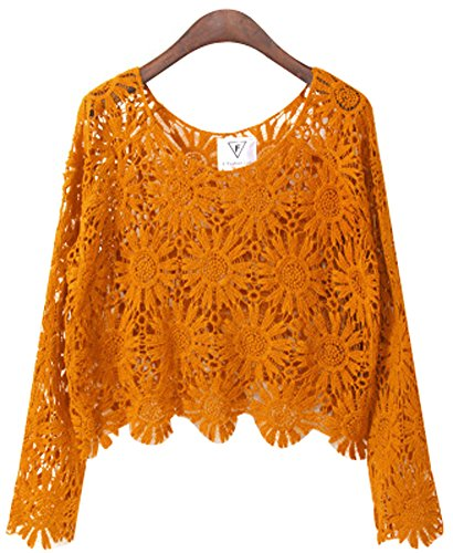 Women Candy Color Sexy and Cute Crocheted beach Tops Blouse