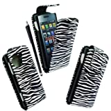 For LG Viewty Snap Gm360 Black White Zebra Printed Pouch PU Leather Magnetic Protected Flip Case Cover + Free Stylus