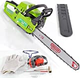 "Charles Jacobs 58cc 3hp Petrol Chainsaw with 18"" Blade, Oregon Bar & Chain, 2200w High Power in Green, Comes With: Ear Muffler Glasses Gloves"