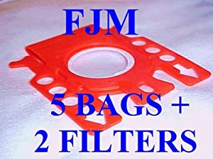 5 FJM Bags + 2 Filters for MIELE Vacuum Cleaners. Allergen, High Filtration Synthetic Bags. By Green Label.