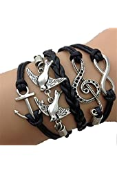 Girl Era Fine Vintage Multi-Strands Leather Bracelets,Wrist Band Black Friendship Bracelet