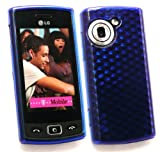 EMARTBUY LG GM360 VIEWTY SNAP LCD SCREEN PROTECTOR AND HEXAGON PATTERN GEL SKIN COVER/CASE DARK BLUE