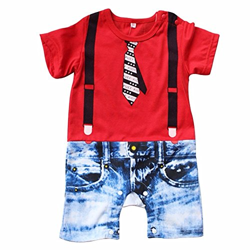 FEESHOW Baby Boys' Short Sleeve Romper Bodysuit Summer Outfit Red 6-12 Months