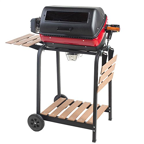 Easy-Street-Electric-Cart-Grill-with-two-folding-composite-wood-side-tables-shelf-and-rotisserie