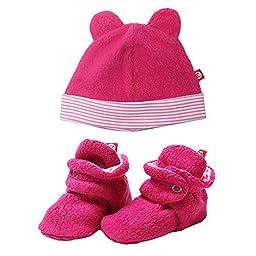 Zutano Cozie Fleece Winter Hat and Baby Bootie Set Fuchsia Pink - 3M