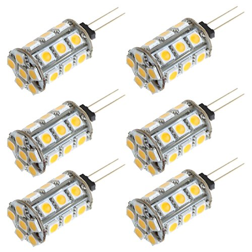 Arlybaba 6 Pack (6 Pcs/Lot) G4 Type 24 Led Light (18+6) Bulb Lamp 3.5 Watt Halogen Bulbs Ac Dc 12V White Undimmable 5050 Emitter Quivalent To 30W Incandescent Bulb Replacement
