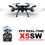 Syma X5SW 4CH 2.4G 6-Axis Gyro Headless Support Mobile Phone Apple IOS Android Wi-Fi Wifi Control FPV HD 0.3MP Camera 360-degree 3D Rolling Mode 2 RTF RC Quadcopter Black