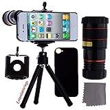 ECO-FUSED IPhone 5 Camera Lens Kit Includes / 8x Black Telephoto Manual Focus Telescopic Camera Lens With Tripod...