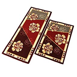 Rubber Back Skid Kitchen Rug HD Print Peony Flower Floor Mats (19.6\'\'Wx47.2\'\'L)