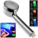 Bluecell Silver Color Temperature Controlled Color Changing LED Shower Head for Bathroom (Smart auto-change)