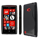 MPERO Collection Flexible S-Shape Poly Skin TPU Black Case / Cover / Shell for Nokia Lumia 720