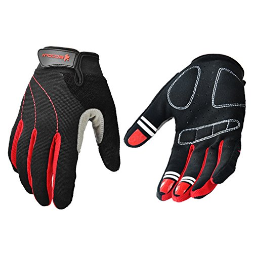 Mifulgoo BDFGF-E Man Woman Anti-Skid Full Finger Breathable Gloves for Cycling Motorcycle Skate Skateboard Roller Skating (M, Black Red)