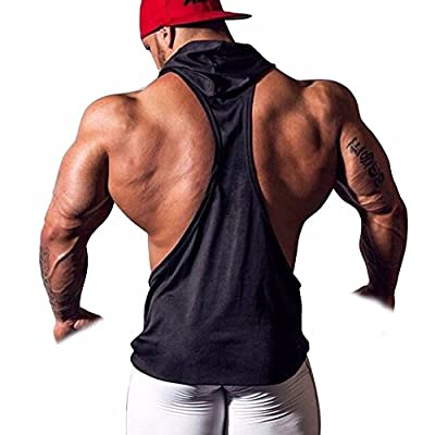 Men's Hooded Gym Tank Top Stringer Bodybuilding Vest Workout Muscle Shirt