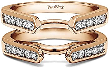 Silver Channel Set Cathedral Ring Guard with Diamonds 05 ct twt