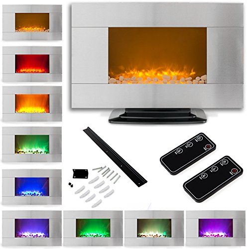 "36"" 1500W Stainless Steel Electric Fireplace Heater Natural Stone Color Changing Led Back Light W/ Base"
