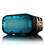 Water Resistant Portable Wireless Speaker by Braven. Gray with White Relief and Blue Grill. 1400mA battery