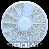 SODIAL(R) White Pearl Nail Art Stone Different Size Wheel Rhinestones Beads - SODIAL Retail Packaging